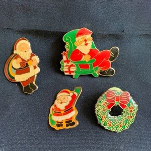 Set of 4 Vintage Christmas Santa Pin Brooches
